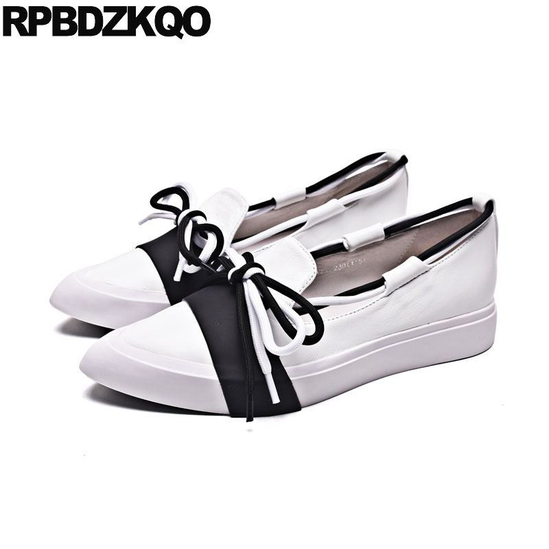 Pointed Toe Flats Leisure Loafers Muffin Lace Up Brand Boat Slip On Designer Shoes Women Luxury 2018 Elevator Black And White