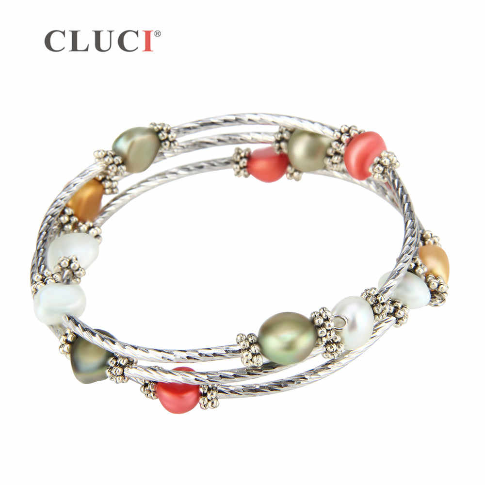 CLUCI colorful 6-7mm freshwater pearls wire wrap bracelet adjustable  bracelet jewelry for women party jewelry