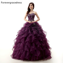 Forevergracedress 2017 Real Pictures Grape Color Quinceanera Dress Sexy Applique Long Formal Party Gown Plus Size Custom Made