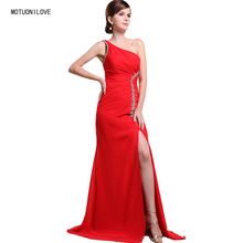 Elegant Formal Evening Dresses 2019 Evening Gown One Shoulder Split One Side Red Sexy Long Party Gowns Plus Size Robe De Soiree цена