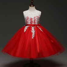 Children Special Occasion Christmas Clothes for Girl Kids Frock Wedding Prom Party White Lace Applique Girl Red Party Dress