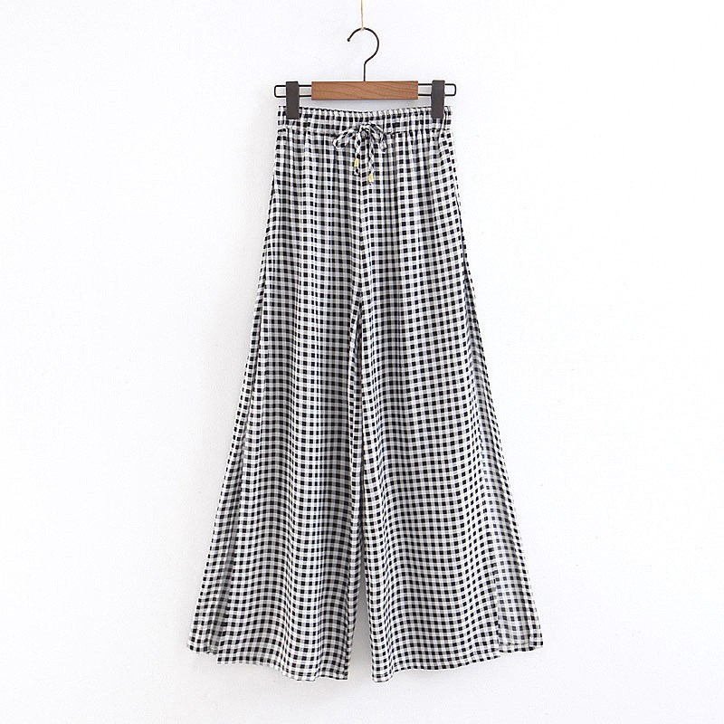 Fashion 2019 Summer Women Black White Plaid   Wide     Leg     Pants   Casual Elastic High Waist Long   Pants   Side Slit Casual Trousers