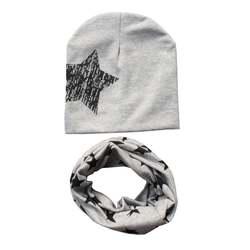 Дети Hat шарф + Шапки комплект осень-зима хлопковый шарф-воротник теплый шапочки звезда печати Младенческая Шапки шарф Наборы для ухода за