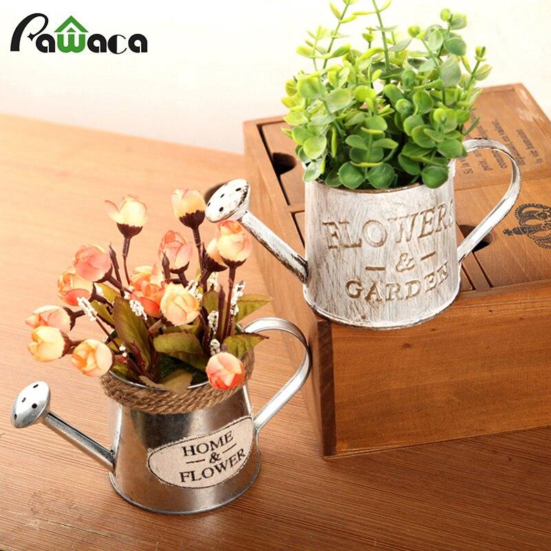 Retro Iron Flower Bucket Pot Flower Plant Succulent Planter Holder Bonsai Pot Vintage Flower Tub Balcony Home Garden Decoration