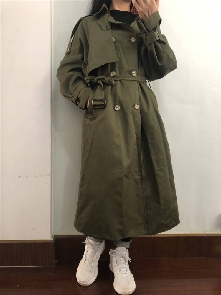 Russian autumn winter casual loose trench coat with sashes oversize Double Breasted Vintage overcoats windbreaker outwear 15