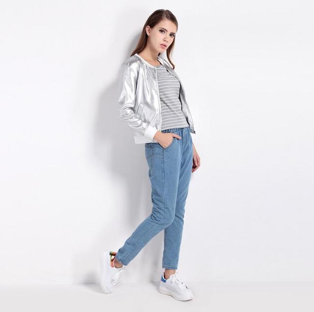2017 SELLWORLDER Fashion Coat Women O-Neck Long Sleeve Basic Outwear Coat Casual Zipper Fly Slim Bomber Jacket For Ladies 1