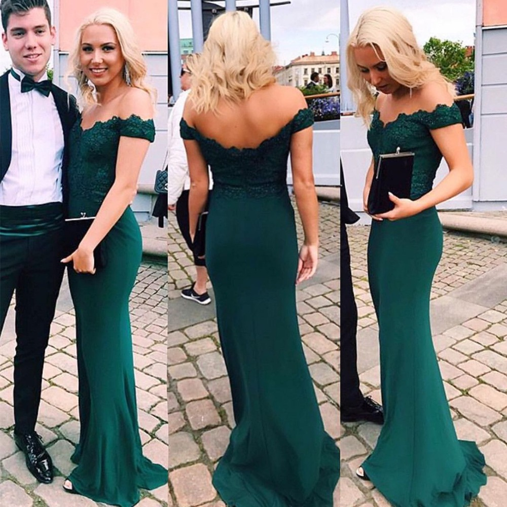 Customized Sexy Off the Shoulder Mermaid Appliques Evening Dresses Lace Long Prom Formal Party Dresses Gowns