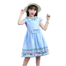 Fancy Kids Girl Flower Dress Princess Preppy Bright Sky Blue Formal Dress Girl Light Blue Knee Length Bridesmaid Bowknot Dresses