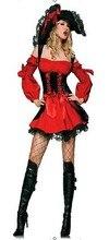 Ensen Europa estilo cosplay Piratas del Caribe de Halloween cosplay fantasia adulto rojo traje de mujer ropa de Lujo