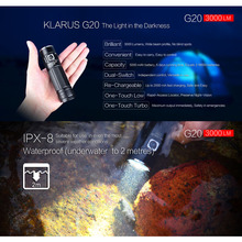 KLARUS G20 USB Rechargeable LED Flashlight Torch With 26650 Battery 3000 Lumens CREE XHP70 N4 LED Light Dual Switch Lantern klarus st10 1100 lumens usb rechargeable compact led flashlight 18650 battery