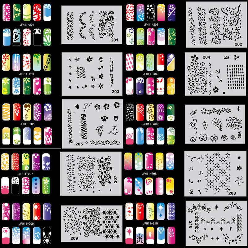 OPHIR 320 PCS/lot 3200 Designs Nail Paint Stencils/Template Sheets Airbrush Nail Art Stencils Nail Paint Tools _JFH1-JFH16  цены