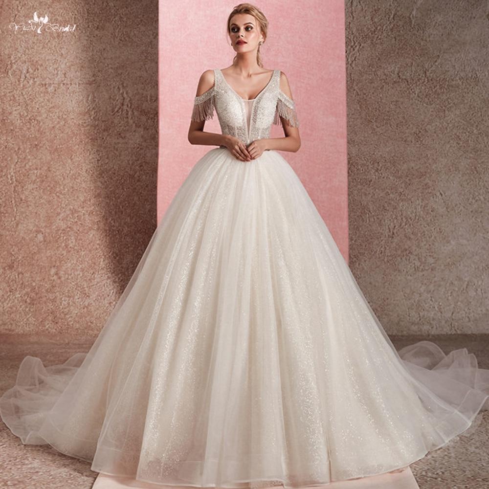 RSW1470 Illusion Top Corpo di Cristallo Che Borda Off Spalla Lustrascarpe Glitters Robe De Mariee Princesse De Luxe