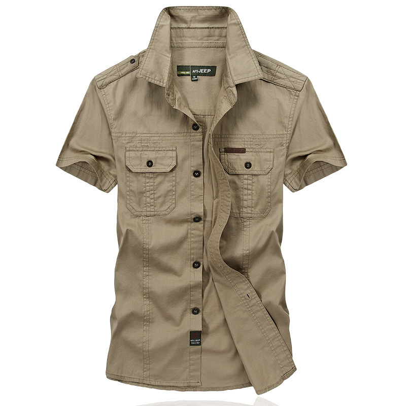 AFS JEEP Brand Men Summer Short Sleeve Casual Shirts Battlefield Military Shirts Combed Cotton Big Size Men Shirts 5001