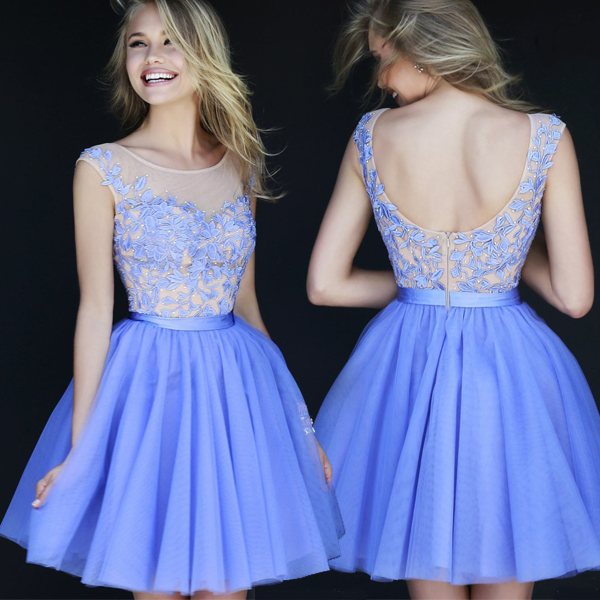 White and Blue Cocktail Dresses