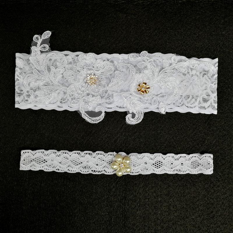 Bridal Garters White Embroidery Floral Beading Rhinestone Female Wedding Garters For Bride 1pc/2pcs Rubber Band Leg Garter Wg010 Women's Intimates Underwear & Sleepwears