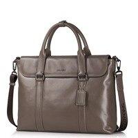 New Men's Genuine Full Grain Leather Tote Business Bag Work Briefcase Laptop Bag Casual Crossbody Removable Strap Shoulder Bag