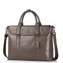 New Men's Genuine Full Grain Leather Tote Business Bag Work Briefcase Laptop Bag Casual Crossbody Removable Strap Shoulder Bag