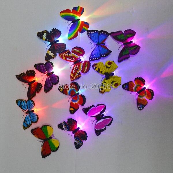 จัดส่งฟรี 12 ชิ้น/ล็อตRGB LED Light Upกระพริบดอกไม้คลิปผมตกแต่งผีเสื้อLEDกระพริบผมคลิป