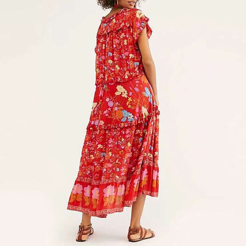 2019 Summer Boho Elegant Vintage Floral Print Ruffled Maxi Dress Women Short Sleeve Pleated Long Beach Dresses Vestidos Mujer in Dresses from Women 39 s Clothing