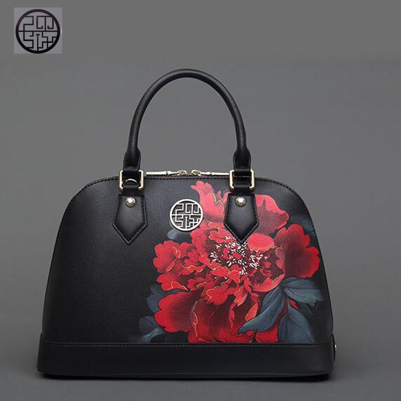 Pmsix2018 high-quality luxury fashion new high-grade leather Chinese middle-aged handbags mommy bag shoulder bag leather bag ret pmsix2018 high quality luxury fashion new high grade leather ethnic embroidery handbags embroidered bag large shoulder bag