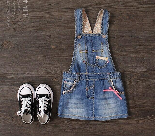 New Arrival Baby Girls Fashion Denim Suspender Sundress Girls Denim Mini Sundress Kids Bowknot Cotton Dresses