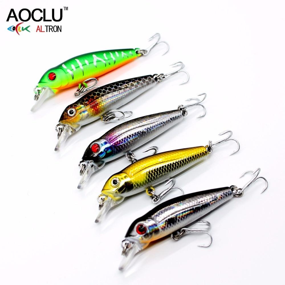 Купить с кэшбэком AOCLU new wobblers 40mm 2.1g Floating Hard Bait MINI Minnow Depth 0.5m fishing lure 5 colors tackle Quality NB147