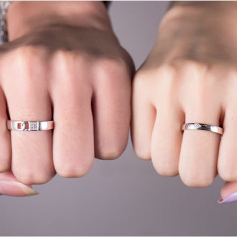 Loverjewelry, хит продаж, обручальные кольца для пар, замок и ключ, любовь, одноцветное, 18 К, белое золото, бриллиант, обручальное, юбилейное кольцо - 5