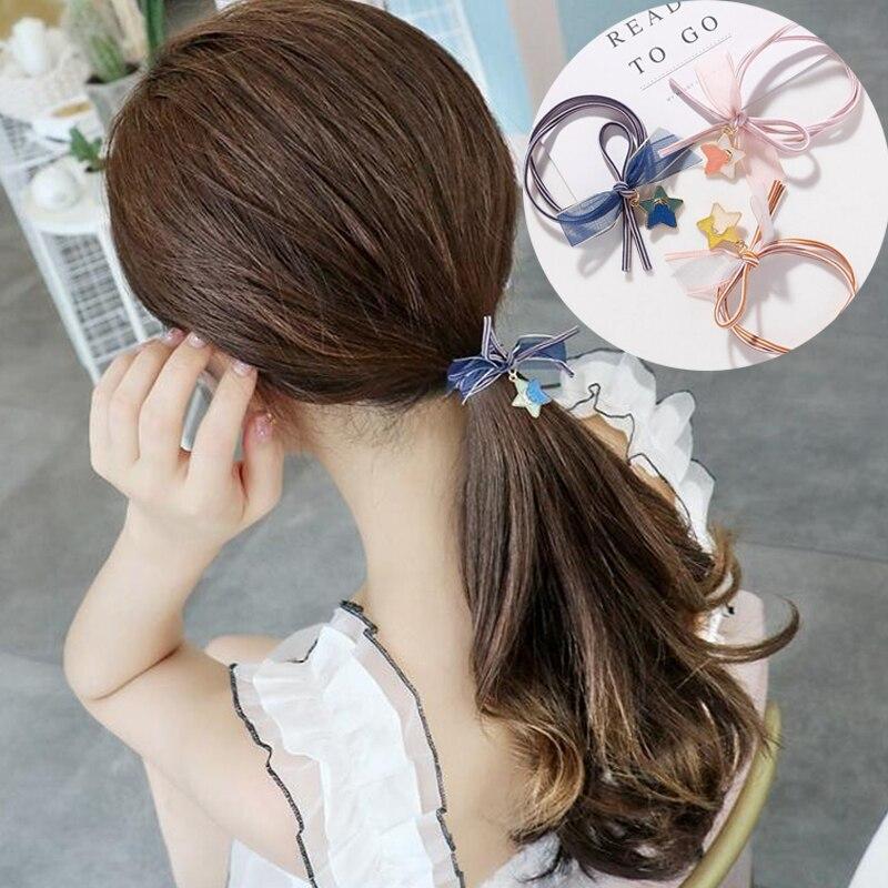 Cute Star Elastic Hair Bands Toys For Girls Handmade Bow Headband Scrunchie Kids Hair Accessories For Womens