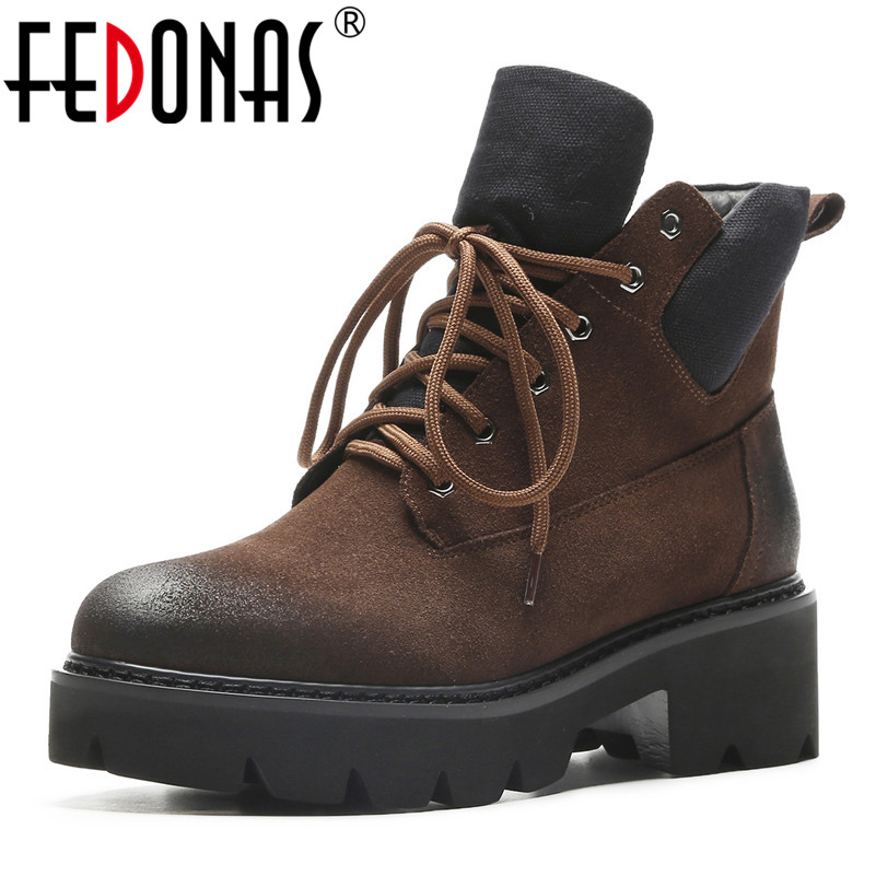 FEDONAS Quality Women Ladies Shoes Woman High Heeled Lace Up Round Toe Winter Snow Boots Punk Retro Platforms Motorcycle BootsFEDONAS Quality Women Ladies Shoes Woman High Heeled Lace Up Round Toe Winter Snow Boots Punk Retro Platforms Motorcycle Boots