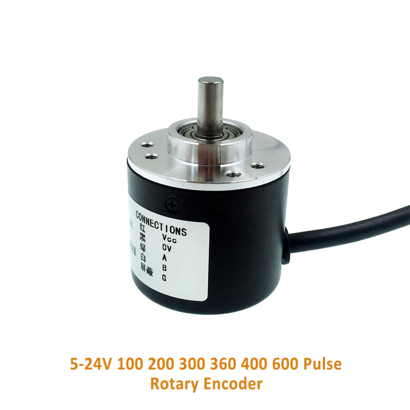 <font><b>100</b></font> 200 300 360 <font><b>400</b></font> 600 Pulse Incremental Optical Rotary Encoder AB Two-phase 5-24V circuit NPN open collector output image