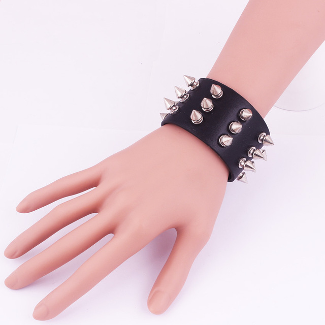 b935d295d Punk Gothic Rock Three Row Metal Cone Stud Spikes Rivet Leather Wristband  Bangle Wide Cuff Bracelet Gothic Rock Spikes Rivet