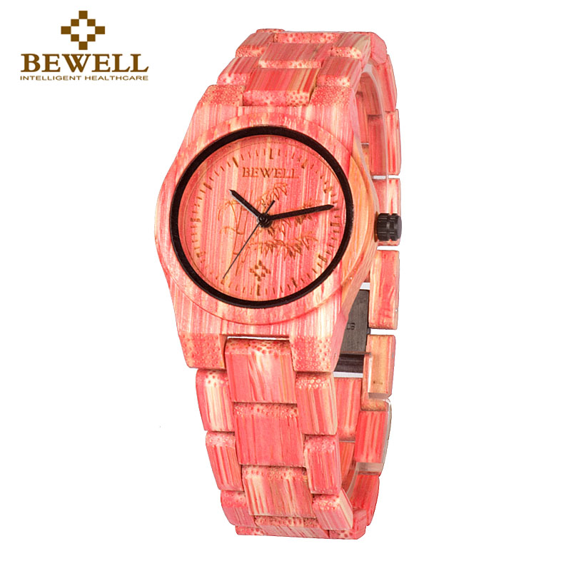 BEWELL Red Fashion Full Bamboo Wood Watch Women Top Luxury Brand Wooden Round Case Quartz WristWatch  With Payper Box Gift 105DL red wooden paint watch box pefect to storage watch case gift for watch lacquer boxes may custom logo factory supply