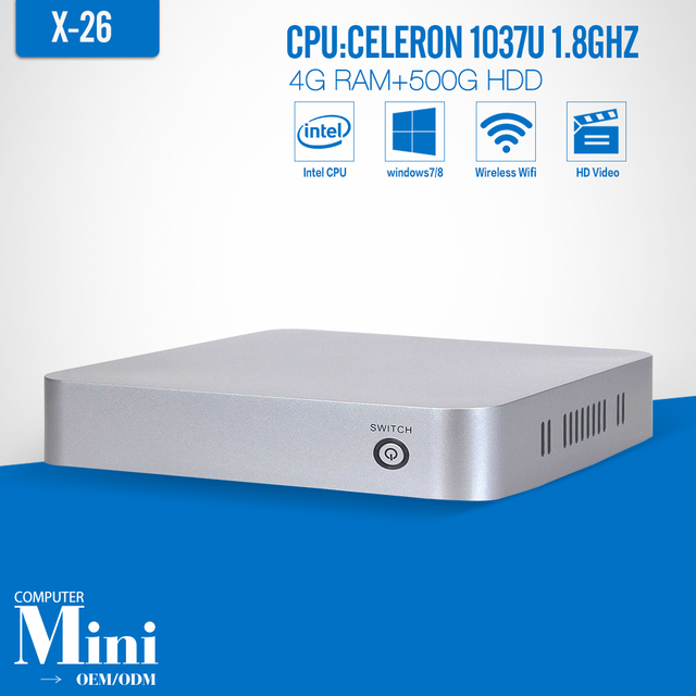 Xcy X26 4 G RAM 500 G HDD WIFI Mini PC computador desktop thin client win7 / 8 / 10 laptop computador thin clients Mini PC com 1 lan rj45