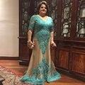 Larga Sirena Más El Tamaño de la Madre de la Novia Vestidos de Encaje de Bodas Nupcial del Novio Vestidos de La Madre Vestidos De Madrina
