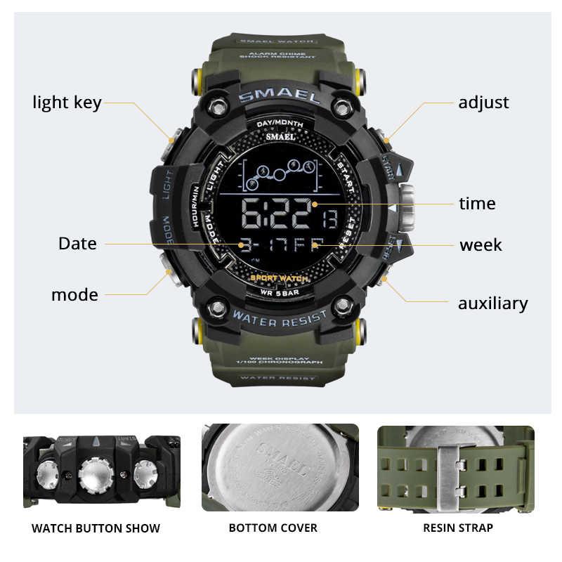 Relógios homens digital led relógio à prova dwaterproof água esportes relogio masculino cronógrafo alarme relógio 1802 exército verde digital militar