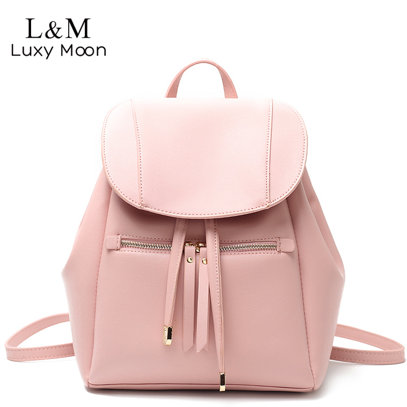 Luxy moon Women PU Leather Backpack Solid Drawstring Backpacks Fashion Black White Bags For Teenage Girls School Bag Pink XA11H