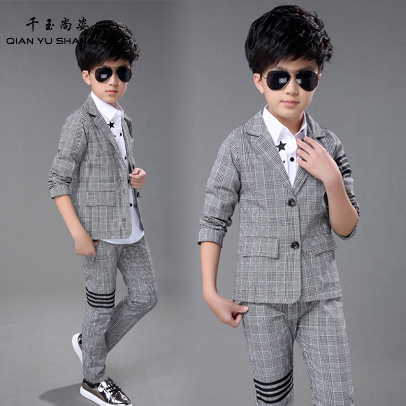 Nice Boys Blazers Good Looking Fashion Casual Suit Sets Kids Spring/Autumn New Plaid Blazers Suit 4-13Years Old Baby Boy Suits 2016 new arrival fashion baby boys kids blazers boy suit for weddings prom formal wine red white dress wedding boy suits