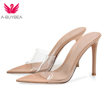 A-BUYBEA New PVC Women Slippers Big Size 35-43 Pointed Toe Super High Heel Shoes Woman Party Outside Ladies