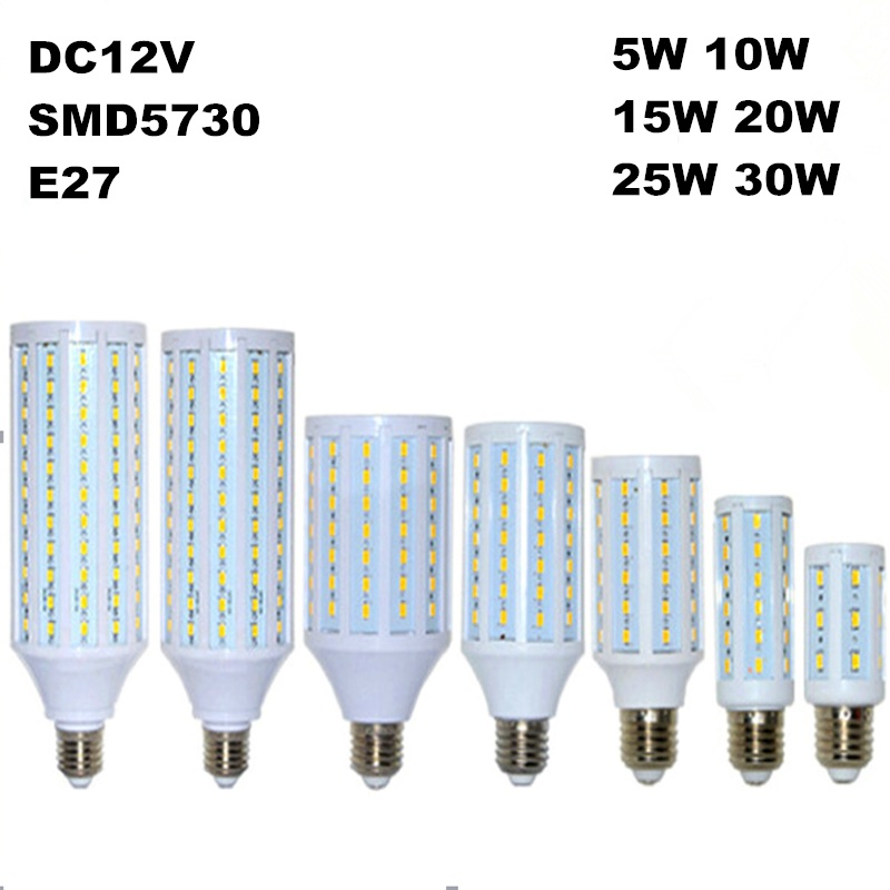 5w 10w 15w 20w 25w 30w LED Corn Bulb E27 12V LED Lamp 5730 SMD Energy Saving LED Corn Light Lampada Cold/Warm White high power aluminum 5730 smd led corn bulb 85 265v e27 15w 20w 30w 40w 50w 60w 80w led lamp warm cold white free shipping 1pcs