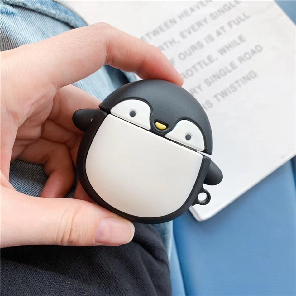 3D Penguin Cartoon Earphone Case For Airpods 2 Case Silicone Cute Cover For Apple Air Pods 1 Case Dinosaur Protective Box
