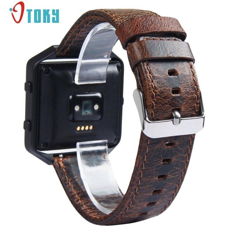 Excellent Quality 2017 Luxury Genuine Retro Leather Watch Band Wrist Strap+Metal Watch Frame For Fitbit Blaze Smart Watch
