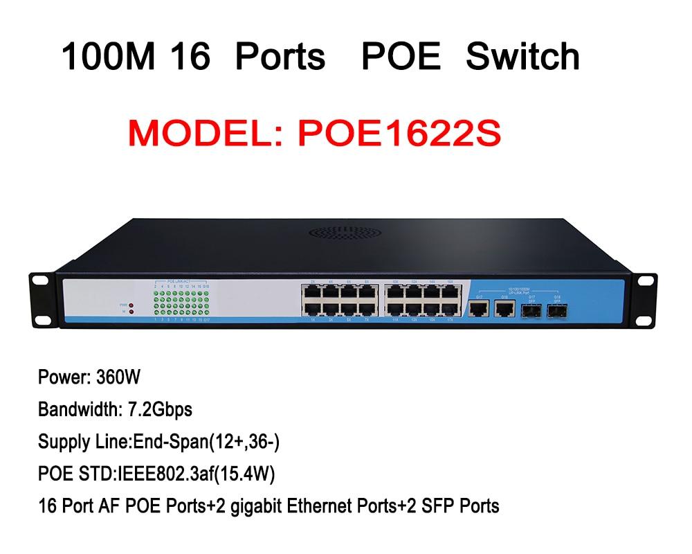 16 Port Rackmount Gigabit Fast Ethernet High Power PoE Switch For Security IP Cameras 4ch poe switch 6 port fast ethernet switch for dahua ip cameras power poe interchanger