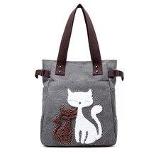 все цены на Women Canvas Handbag cartoon Cat embroidery Shoulder bag Female Large Capacity Ladies Beach Bag Women Tote Shopping Handbags2019 онлайн