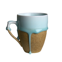 Handmade Creative Ceramic Blue Flow Glaze Mug Round Irregular Porcelain Cups White Brown Coffee Milk