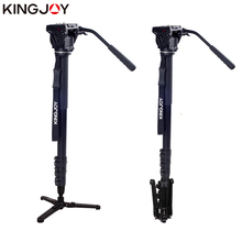 KINGJOY Official MP4008F+KH-6750 Professional Photographic Travel Aluminum Flip Monopod Kit For DSLR Camera Video Tripod Stand