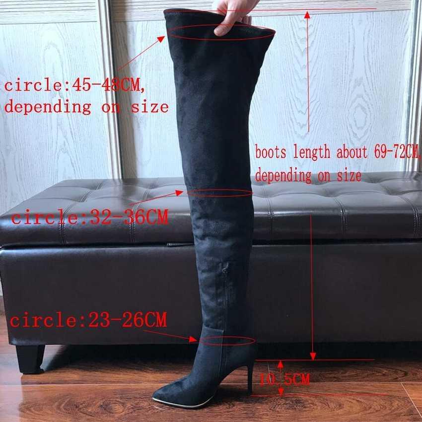 10.5 cm Hoge Hakken Dij hoge Laarzen Schoenen Vrouwen Winter Sneeuw Schoen Vrouw Zwarte Stretch Slim Over De Knie Laarzen lange Winter boot