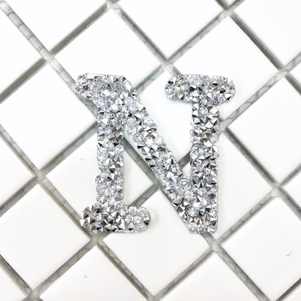 A-Z 1PC Rhinestone English Alphabet Letter Mixed Embroidered Iron On Patch For Clothing Badge Paste For Clothes Bag Pant shoes