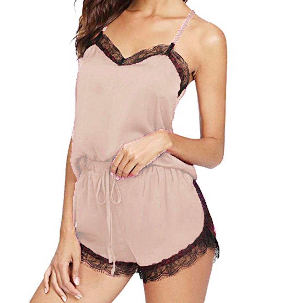 #Women Summer Sleepwear Sleeveless Strap Nightwear Lace Trim Satin Cami Top Pajama Sets Underwear Set