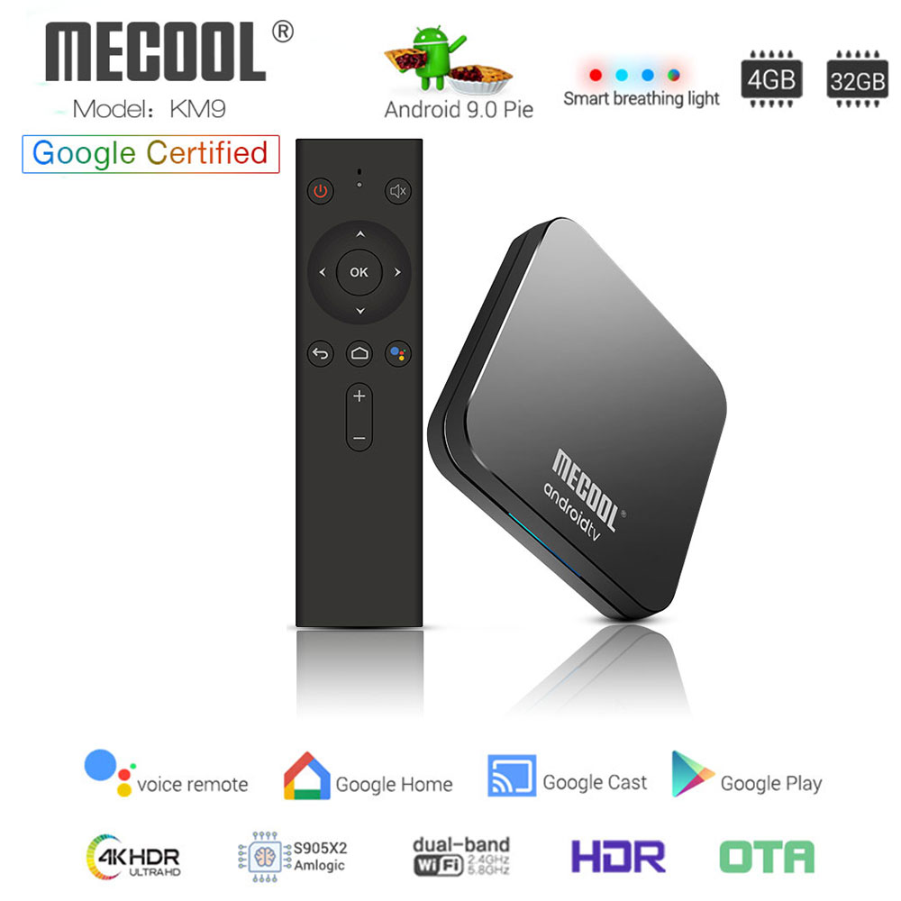 MECOOL KM9 ATV Android 9 0 Smart TV BOX Amlogic S905X2 Quad core 4GB 32GB  Youtube 4K H 265 2 4G/5GHz Dual Wifi BT4 1 Androidtv