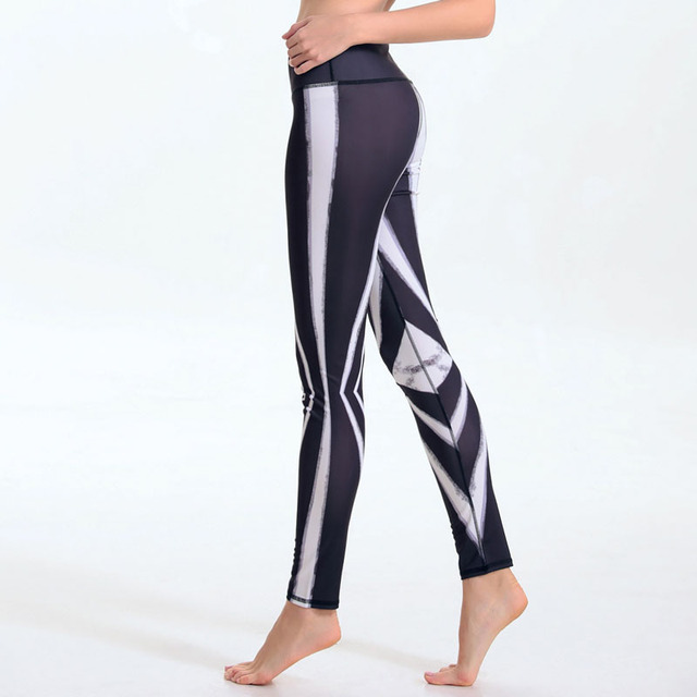 Sporting Leggings Stripe Print Workout Women Fitness Legging Pants